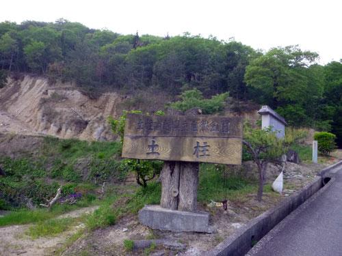 阿波の土柱の案内板の後ろが「ツチハシラ」? 崖崩れ?