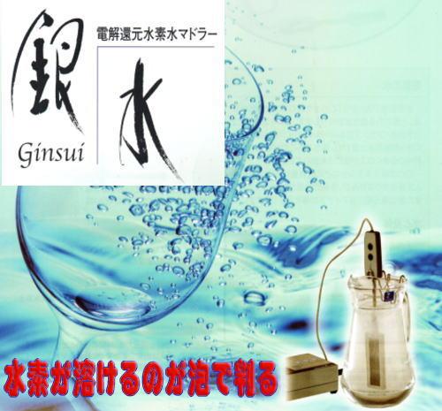電解還元水素水生成装置 銀水の写真。水を電気分解する事により、水中に水素を大量に溶存させ、還元力のある水を生成する装置です。