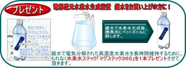銀水で電気分解された高濃度水素水を長時間維持するために、もれなく水素水ステック「マグステック365」を1本ブレゼントさせて頂きます。銀水で水素水生成後、携帯用にペットボトルに移します。