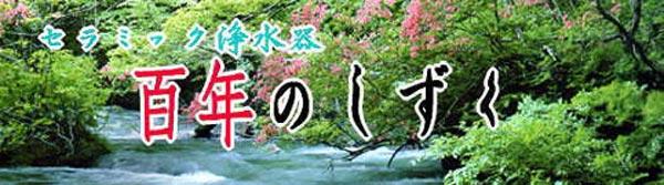 浄水器「百年のしずく」は、信楽、有田の本体にセラミックフィルターを組み合わせたセラミック浄水器としての実用性と心を癒す陶芸品です。