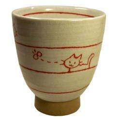 画像1: 湯呑 遊び猫(茶) [瀬戸市]