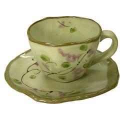 画像1: 手描ぶどう コーヒー碗皿(紫) [美濃焼]
