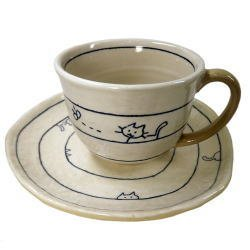 画像1: 遊び猫 コーヒー碗皿(青) [瀬戸焼]