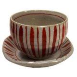 陶碗皿 赤絵十草 [美濃焼]