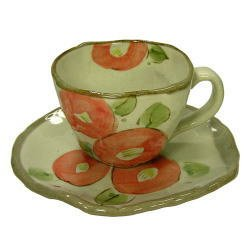 画像1: 手描き花椿 コーヒー碗皿(紅) [美濃焼]
