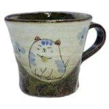 マグカップ 花猫(青) [美濃焼]