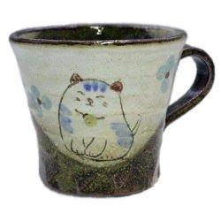 画像1: マグカップ 花猫(青) [美濃焼]