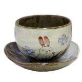 陶碗皿 花兎(青) [美濃焼]