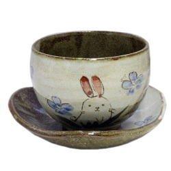 画像1: 陶碗皿 花兎(青) [美濃焼]