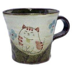 画像1: マグカップ 花猫(紅) [美濃焼]