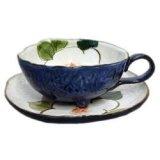 コーヒー碗皿 色釉白花 [瀬戸焼]