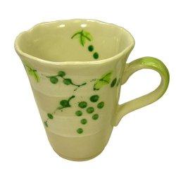 画像1: マグカップ 山ぶどう(緑) [瀬戸焼]