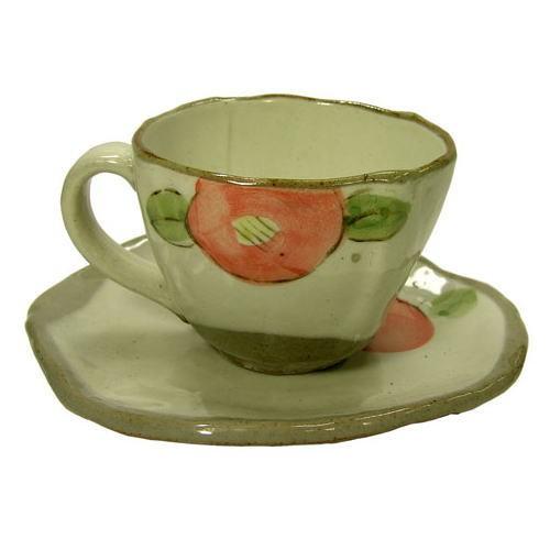手描花椿 コーヒー碗皿(紅) 裏側