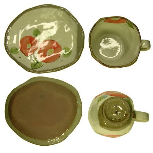 手描花椿 コーヒー碗皿(紅)