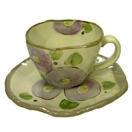 手描花椿 コーヒー碗皿(紫) 正面