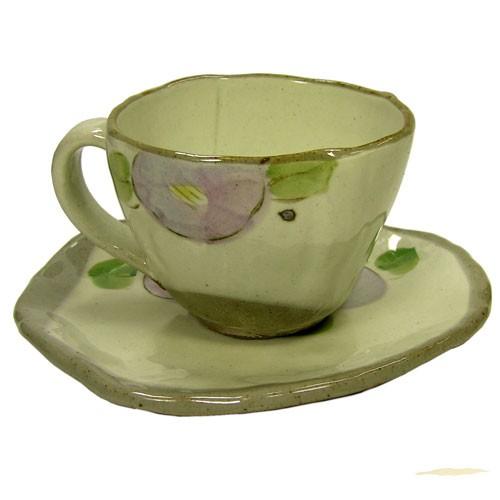 手描花椿 コーヒー碗皿(紫) 裏側