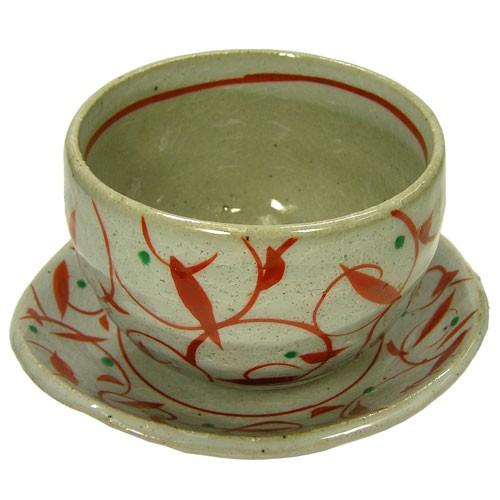 赤絵唐草 陶碗皿 正面