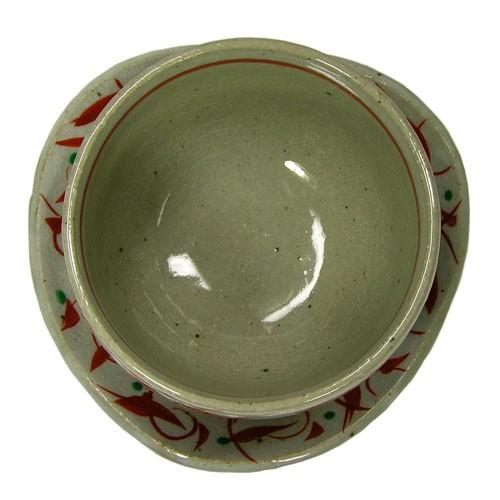 赤絵唐草 陶碗皿 底面