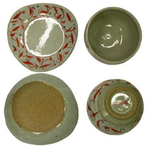 赤絵唐草 陶碗皿
