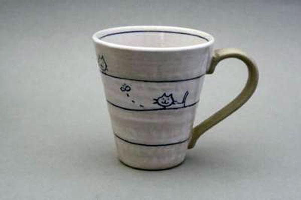 マグカップ 遊び猫(青) 正面