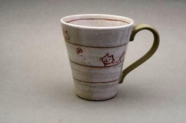 マグカップ 遊び猫(茶) 正面