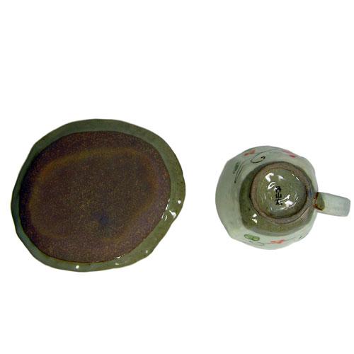 手描ぶどう コーヒー碗皿(紅) 底面
