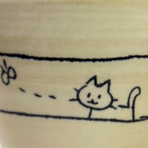 遊び猫 湯呑(青) 猫柄