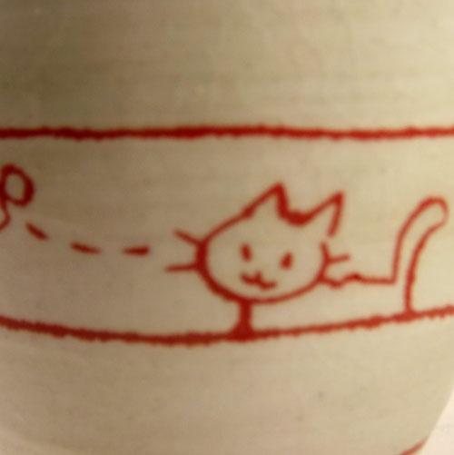 遊び猫 湯呑(茶) 猫柄