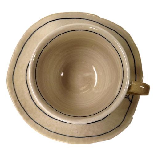 遊び猫 コーヒー碗皿(青) 上から