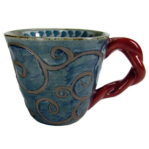 陶器のマグカップ  サビ唐草(赤) 波佐見焼