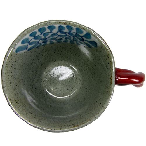 陶器のマグカップ  サビ唐草(赤) 波佐見焼 中側