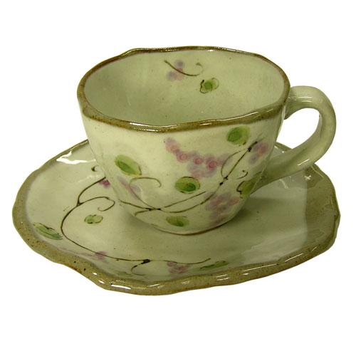 手描ぶどう コーヒー碗皿(紫) 正面