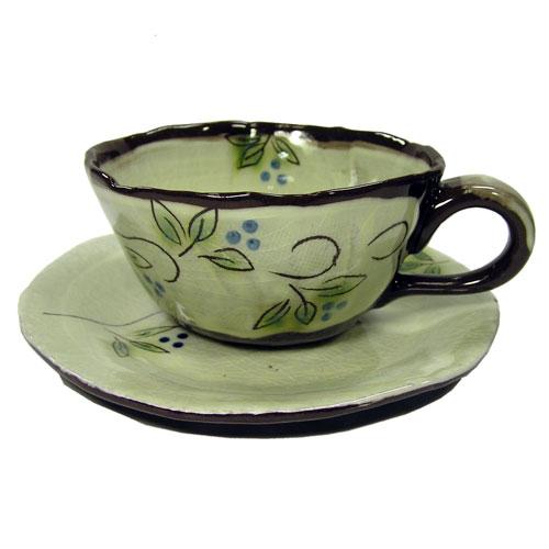 白刷毛木の実 コーヒー碗皿(青) 正面