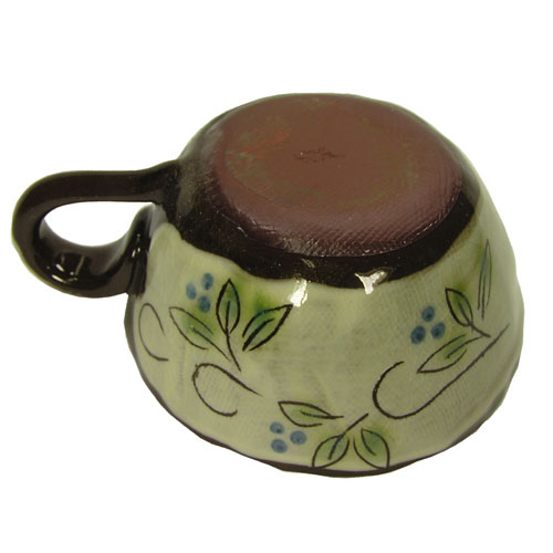 白刷毛木の実 コーヒー碗皿(青) カップ裏面