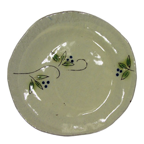 白刷毛木の実 コーヒー碗皿(青) 皿 正面