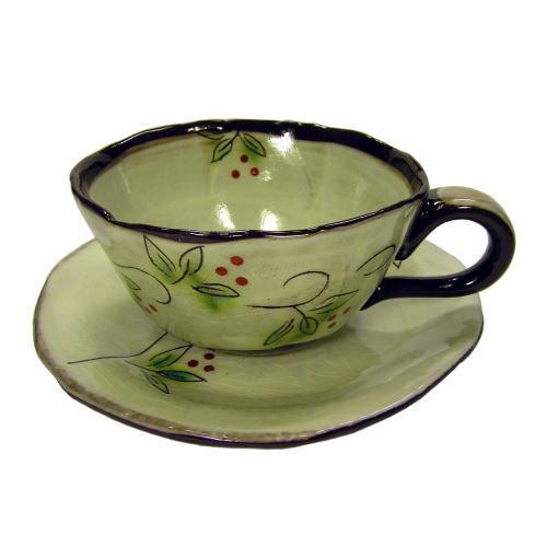 白刷毛木の実 コーヒー碗皿(紅) 正面