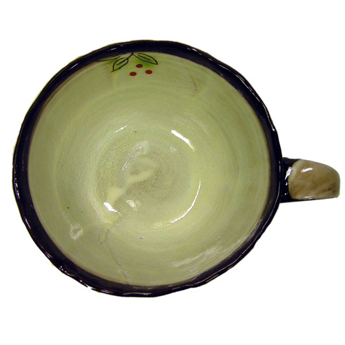白刷毛木の実 コーヒー碗皿(紅) 内側