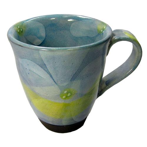 彩花 マグカップ(青) 美濃焼 正面