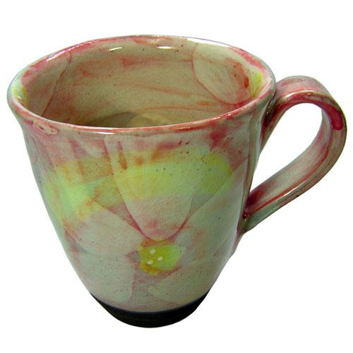 彩花 マグカップ(紅) 美濃焼 正面