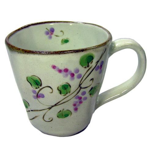 マグカップ 手描ぶどう(紫) 正面