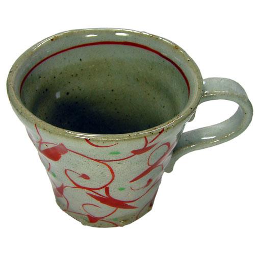 手造りマグカップ 赤絵唐草 中面