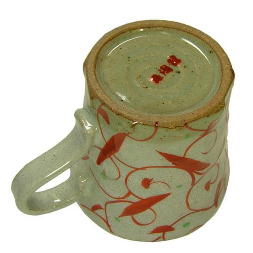 手造りマグカップ 赤絵唐草 底面