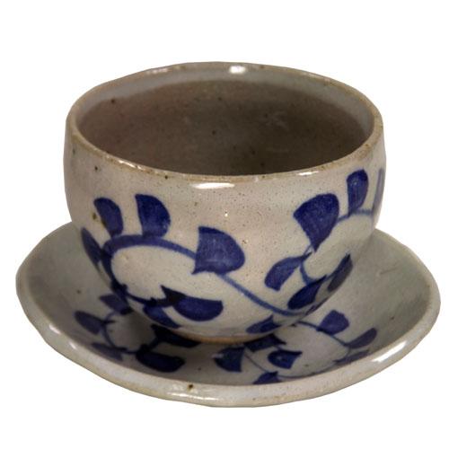 染付唐草 陶碗皿 正面
