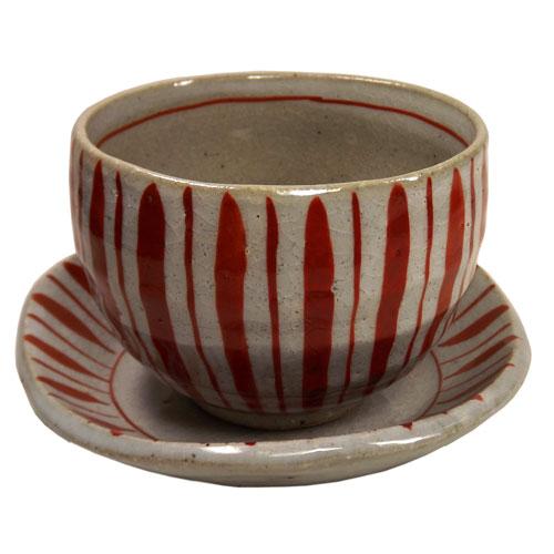 赤絵十草 陶碗皿 正面