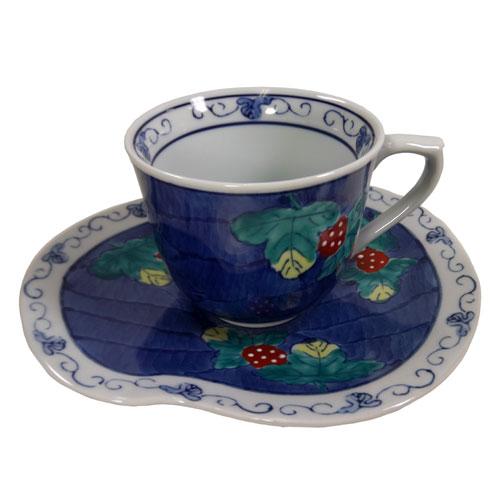 濃いちご コーヒー碗皿 正面