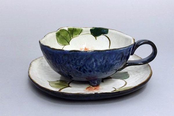 カップ&ソーサー コーヒー碗皿 色釉白花 正面