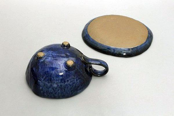 カップ&ソーサー コーヒー碗皿 色釉白花 裏面