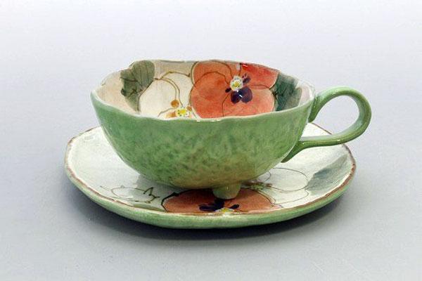 カップ&ソーサー コーヒー碗皿 花花兎(緑) 正面