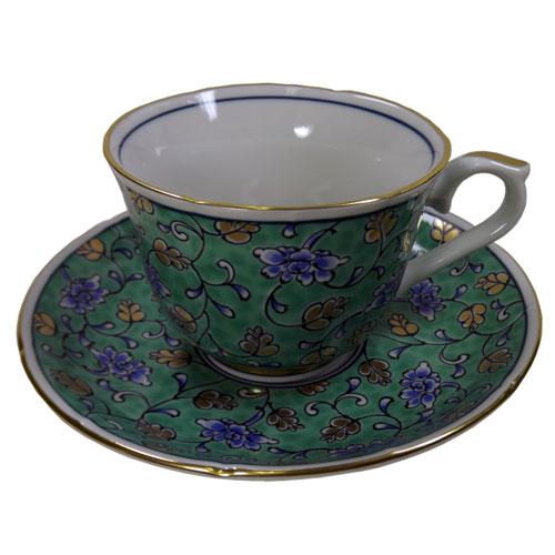 グリーン濃唐草 コーヒー碗皿 正面