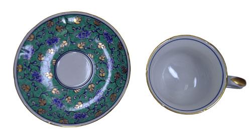 グリーン濃唐草 コーヒー碗皿 表面
